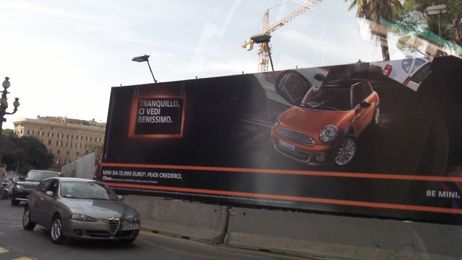 MINI billboard in Rome, Italy.